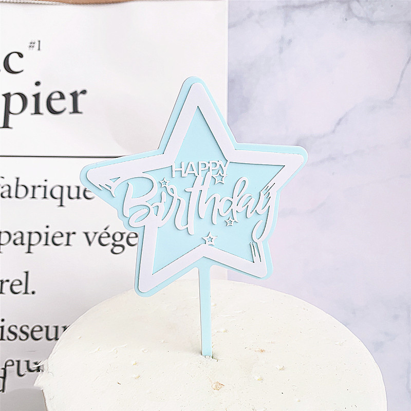 High Quality Multicolor Double Layers Star Acrylic Happy Birthday Cake Topper Kids Favors Party Supplies Cake Decoration in Cake Decorating Supplies from Home Garden