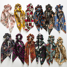 Fashion Bohemian Floral Print Scrunchie Silk Elastic Hair Band For Women Scarf New Luxury Bows Rubber Ropes Girls Ties Gift