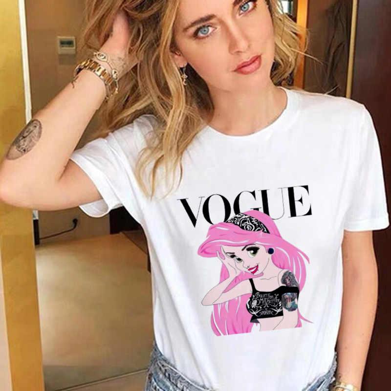女性 2020 プリント薄型セクション白 tシャツファムおかしい王女流行原宿 tシャツトップスかわいい tシャツ女性服 tシャツ