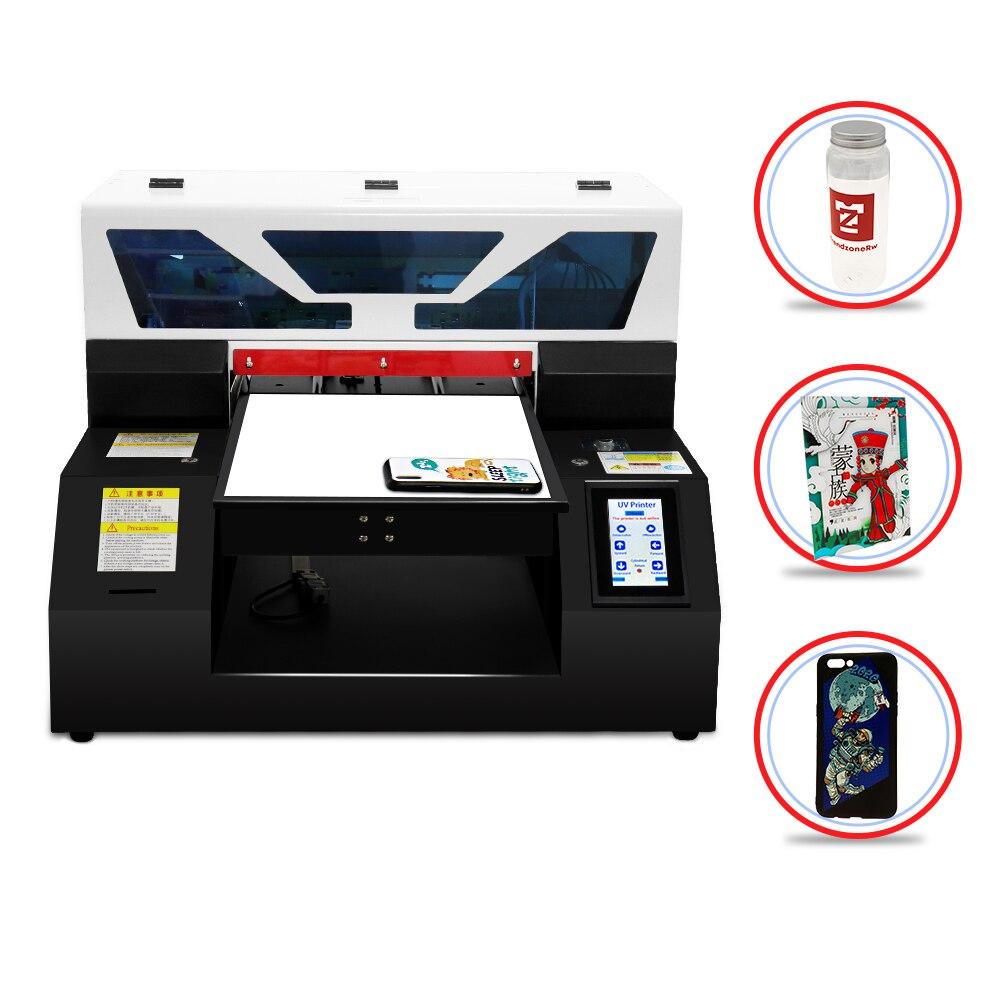 Impressora a4uv totalmente automática com caixa do telefone do tela táctil garrafa de vidro acrílico a4 máquina de impressão uv com circulação de tinta branca