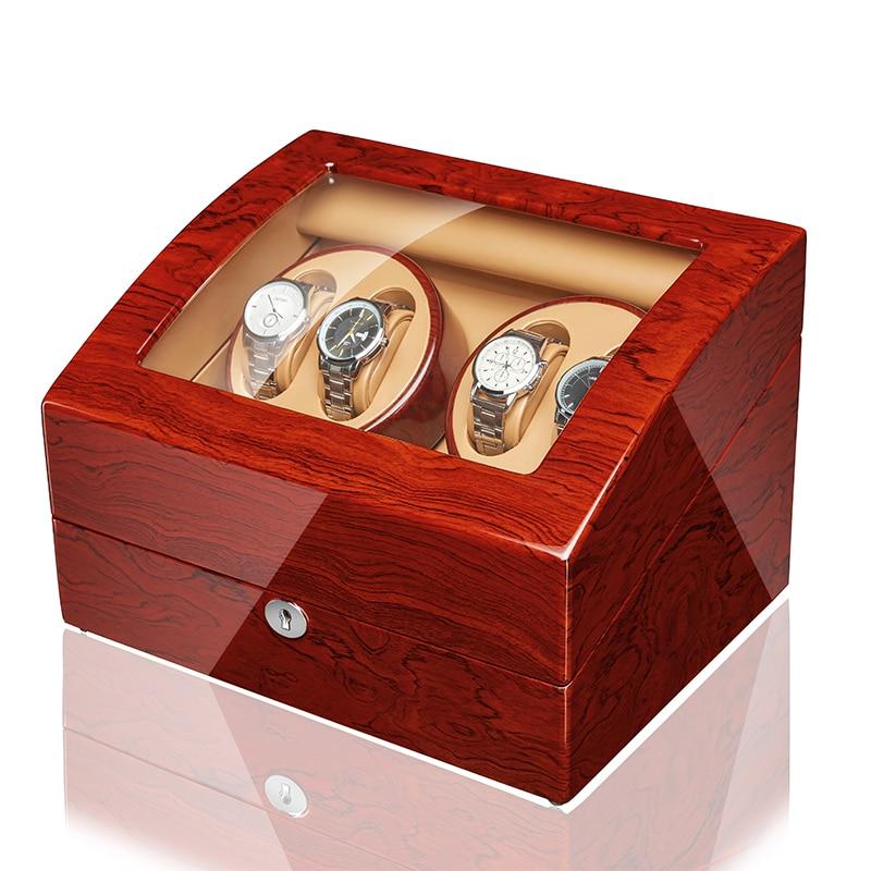 JQUEEN 4 Automatic Walnut Watch Winder with 6 Storage Case ...