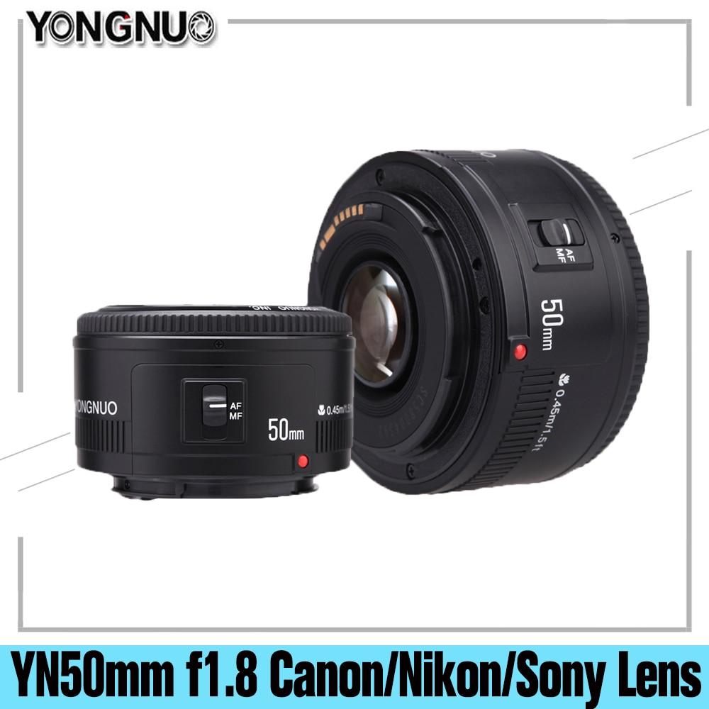 Объектив YONGNUO YN50 мм f1.8 YN EF 50 мм f/1,8 AF, апертура YN50, объектив с автофокусом для цифровых зеркальных камер Nikon, Sony, E-Mount, Canon EOS 60D 5D2