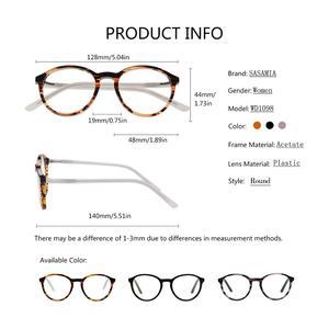 Image 4 - SASAMIA gözlük yuvarlak Retro Demi gözlük kadın optik daire gözlük çerçeve Vintage asetat gözlük çerçeveleri kadin Trends