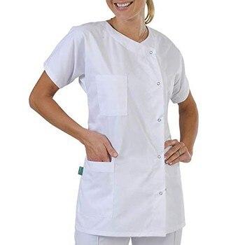 цена на Lab Coat Doctor Nurse Uniform Blouse Summer Plus Size Fashion Pure Color Multi-Pocket Short Sleeve Loose Shirt #L30