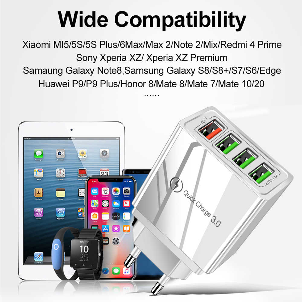 شاحن USB سريع الشحن 3.0 لهاتف iPhone XR X 7 8 Huawei P20 اللوحي QC 3.0 شاحن جداري سريع مقبس أوروبي مكيف لسامسونج A50 A30
