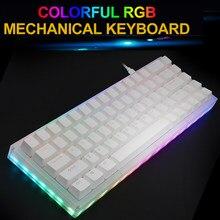 Atualize 68 teclas rgb teclado mecânico do jogo TYPE-C usb3.1 com fio keycaps rgb backlit nkro teclados mecânicos para o jogo do escritório