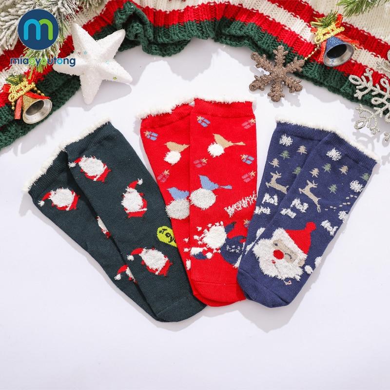 3 Pairs Gift Box Cartoon Cotton Christmas Socks Kids Boy Autumn Winter Warm Baby Girl Socks Children Meias Stuff Miaoyoutong 2
