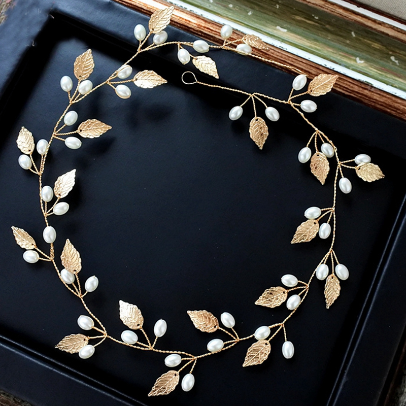 Bride Handmade Pearl Hairband Headdress Gold Leaves Wedding Dress Accessories Headpiece Bride Jewelry