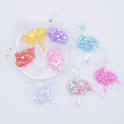 16Pcs Transparent PVC Filling Sequins A Hole Flamingo Appliques for DIY Headwear Hairpin Bow Ring Pendant Decor Accessories P12