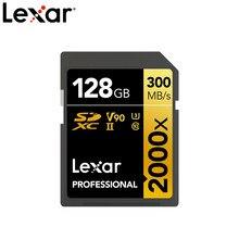Cartão de memória lexar, d'origine, cartão sd, 300 mb/s, sdhc 2000x32 go sdxc UHS-II u3, 64 go 128 go v90 par 4k câmera reflex numérique