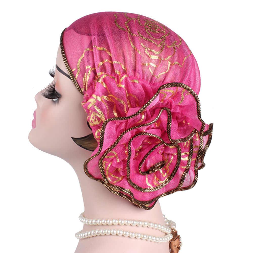 أزياء كبير زهرة المسلمات قبعة عمامة تمتد الكيماوي قبعة باندانا حك