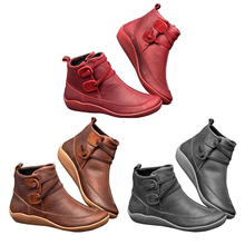 Get more info on the 2019 New Arch Support Boots Women Damping Soft Flat-Bottomed Boots Leather Braided Strap Boots Waterproof Shoes for Travel Boots