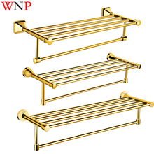 WNP Gold Polished Tianium Chromed Brass Bath Towel Shelf Batroom Hardware Bath Towel Rack Bathroom Accessories free shipping towel racks luxury bathroom accesserries golden finish bath towel shelves towel bar bath hardware db008k 1