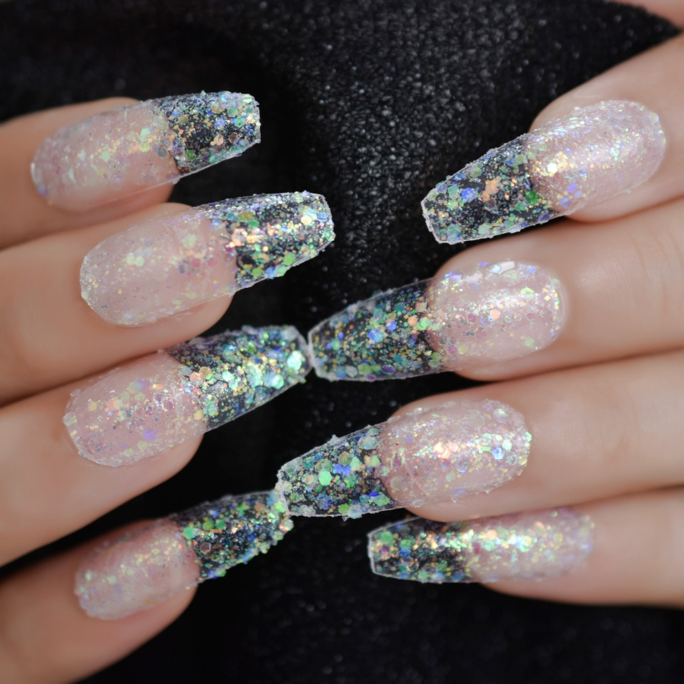 Spirit Christmas Nail Art Deisned Press on Fingernails Gorgeous Extra Long  Coffin nail Holographic Glitter Gel Clear Fake nails