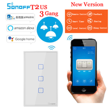 sonoff T2 US 3 gang WiFi/RF/Touch Wall Switch Smart Home Remote Control Wall Light Touch Switch Works With Alexa Google Home цена 2017