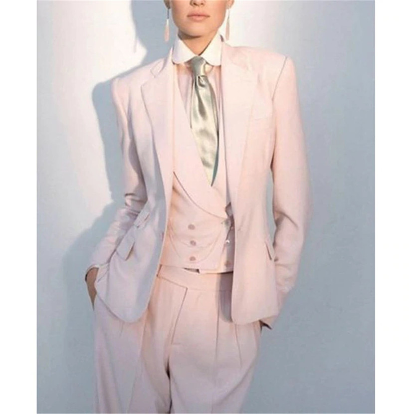 Pink Women Double Breasted Business Suit Female Custom Made Slim Fit Tuexdo Suits Female Party Prom 3 Pieces Costume Suits