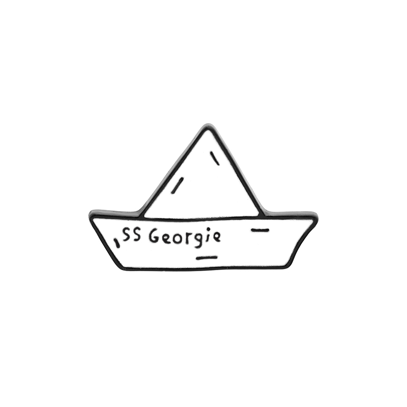 SS Georgie paper boat Enamel badge Stephen Kings IT Cartoon origami brooch Paper maiden voyage Cowboy lapels pin