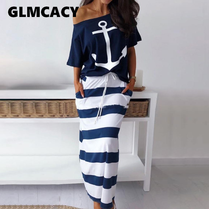 Women Two Piece Sets Boat Anchor Print T-Shirt & Striped Skirt Sets Casual Ankle-Length Fashion Off Shoulder Maxi Striped Skirt