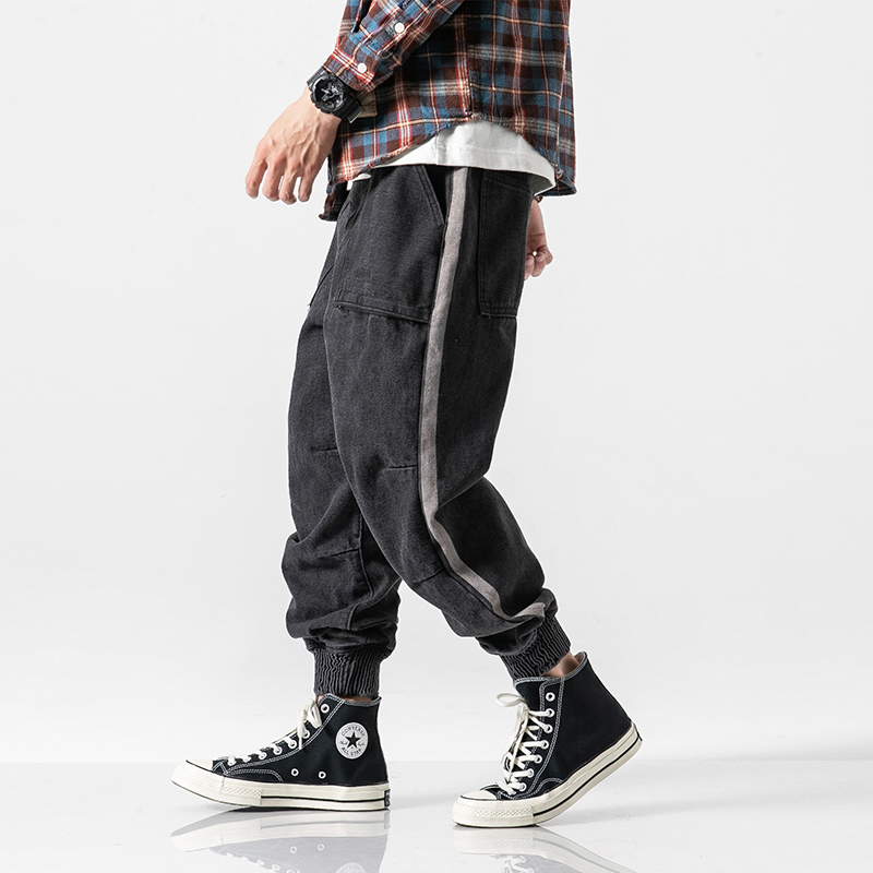 American Streetwear Fashion Men Jeans Black Gray Loose Fit Denim Cargo Pants Harem Jeans Side Stripe Hip Hop Jeans Men Joggers