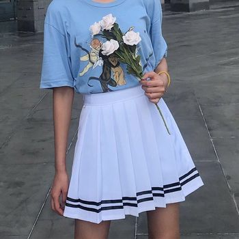 XS-5XL 2 Color New Summer Preppy Style Mini Women Skirt High Waist Striped Pleated Skirt Sailor Navy Cosplay Uniform Skirt abstract striped pleated skirt