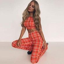 Goocheer Plus Size Ladies Plaid Clothes Set Fashion 2019 Women Sleeveless Holiday Crop Tops+Long Pants 2Pcs Loose Outfit 2XL