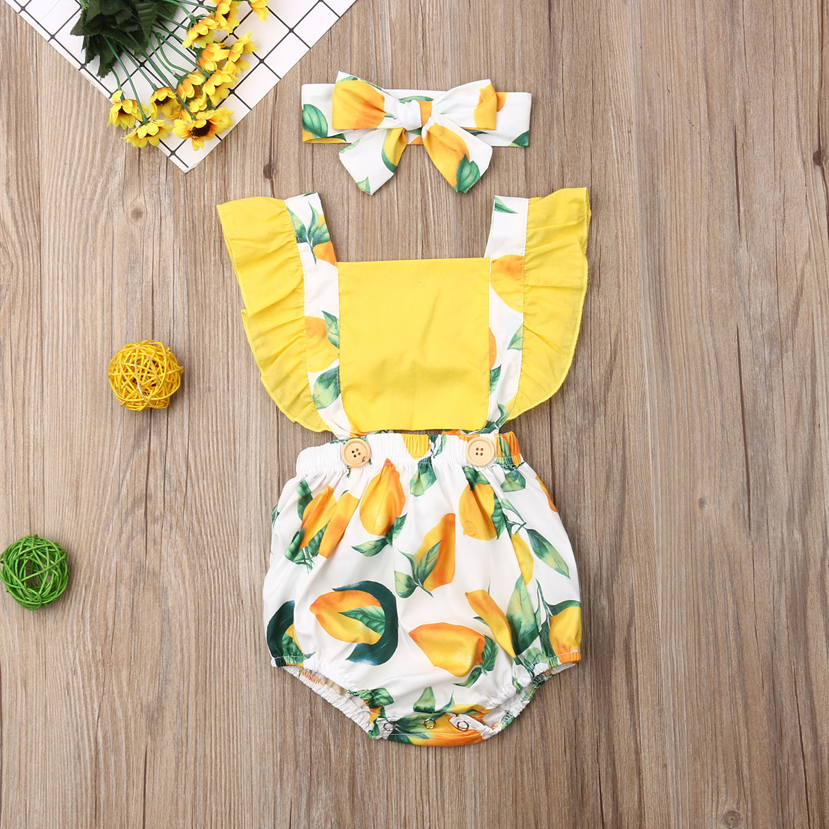 Baby Girl Romper Newborn Baby Girl Lemon Fruit Romper Sleeveless Jumpsuit Clothes  Summer Infant Baby Outfit Set 0-24M