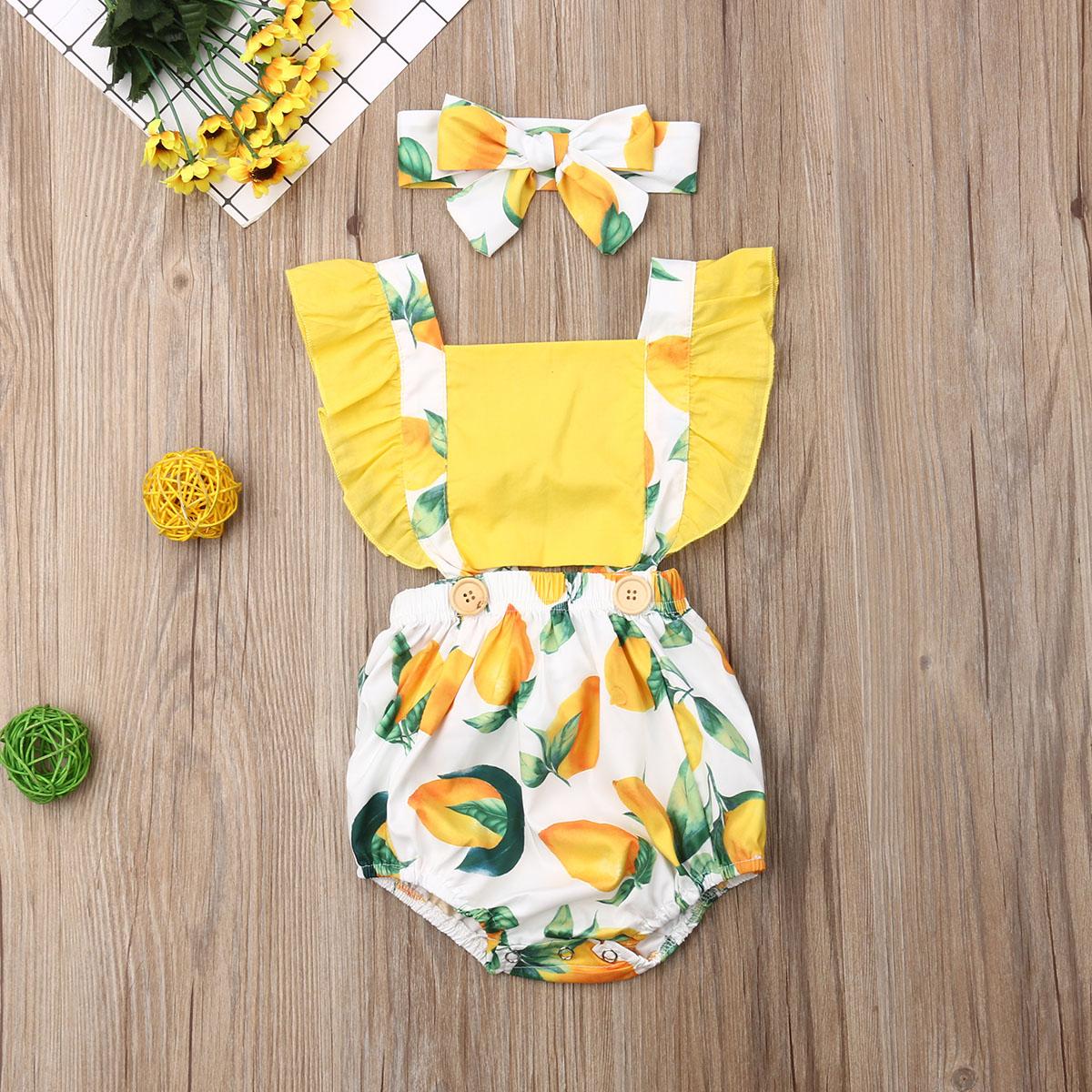 Baby Girl Romper Newborn Baby Girl Lemon Fruit Romper Sleeveless Jumpsuit Clothes  Summer Infant Baby Outfit Set 0-24M