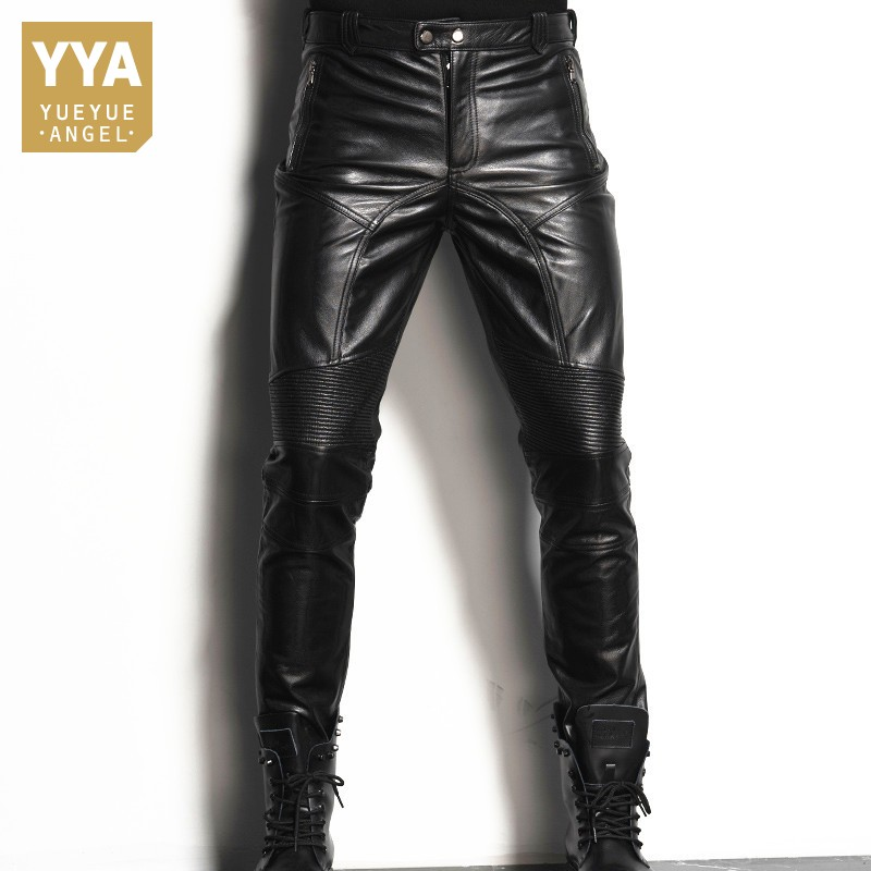 Luxury Mens Cowhide Real Leather Pants Motorcycle Windproof Top Quality Leather Pants Slim Fit Long Trousers Straight Pants 36