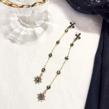 baroque long earrings  cross tassel rhinestone indian vintage