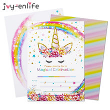 Joy-enlife convite unicórnio, 6 peças, festa de feliz aniversário, decoração de crianças, convidados, cartões com envelopes