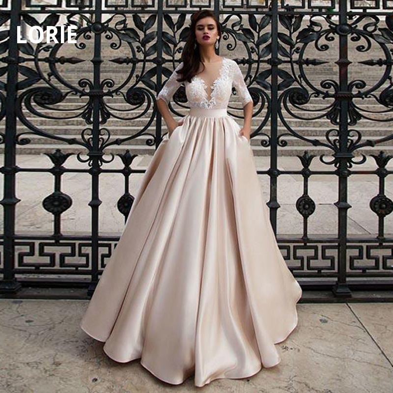 LORIE Half Sleeves Champagne Wedding Dresses With Pocket Elegant Satin Lace Ball Gown Bridal Gowns Back Illusion Bride Dress