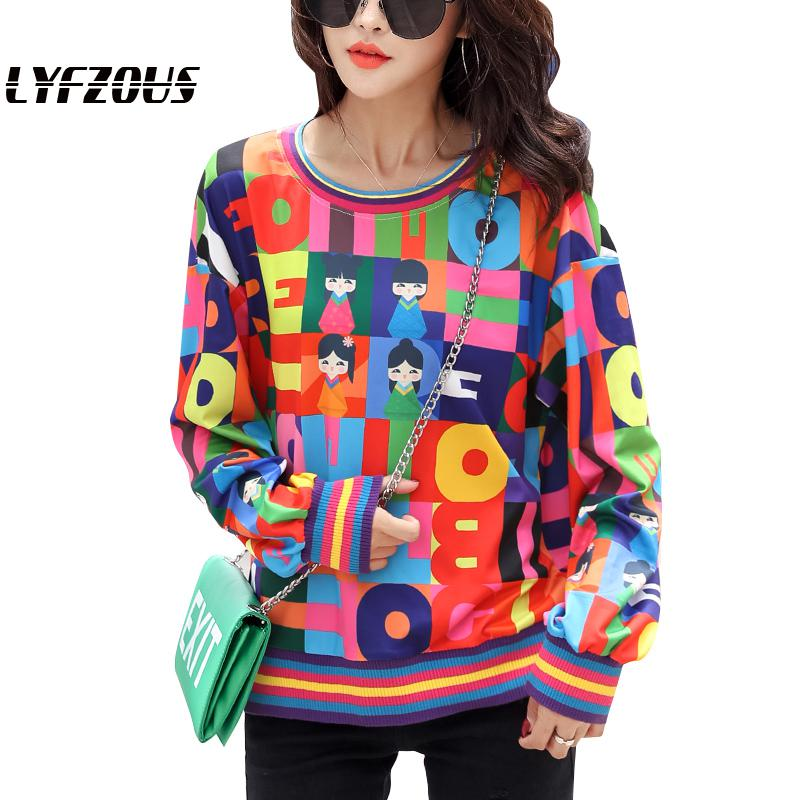 Fashion Cartoon Printing Pullover Women Long Sleeve Contrast Color Sweatshirt Autumn Casual Mathing Sweatshirts For Woman