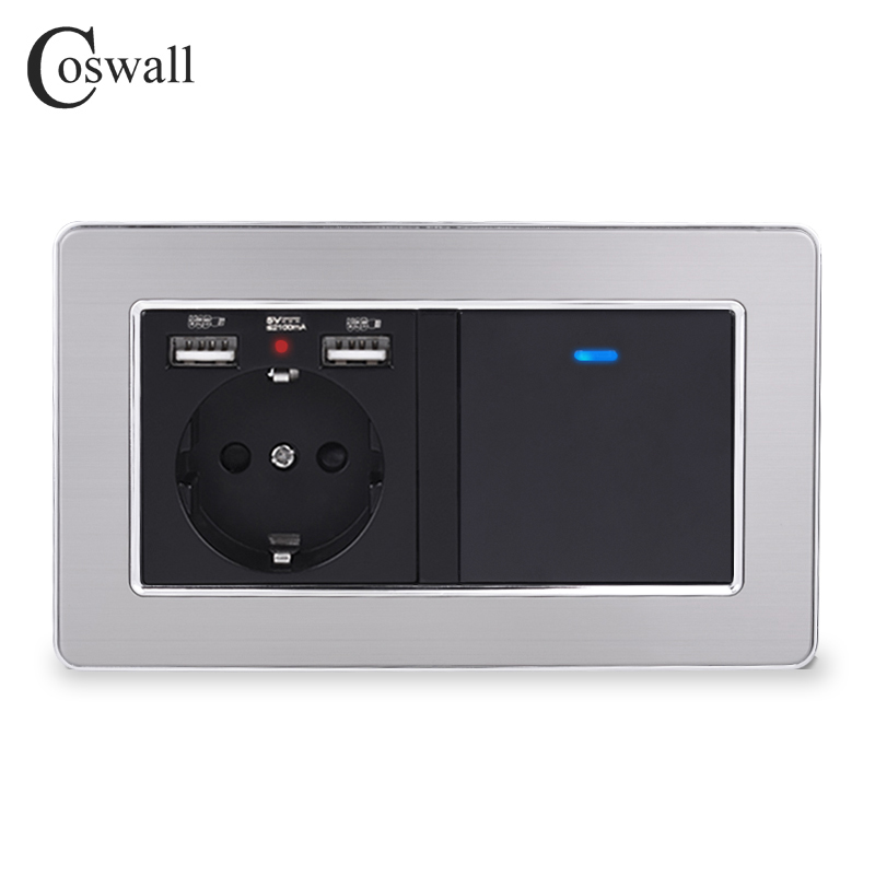 COSWALL Russia Spain EU Standard Wall Socket With 2 USB Charge Port + 1 Gang 1 Way On / Off Light Switch Stainless Steel Frame
