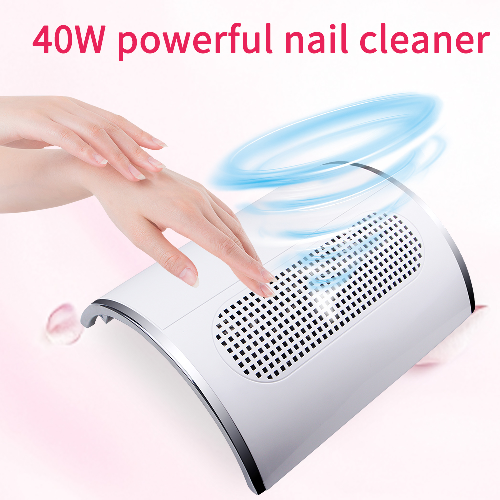 40W Nail Vacuum Cleaner Nail Dust Collector Professional Nail Machine 2 Fan Powerful Nail Cleaner Low Noise Nail Salon Tool
