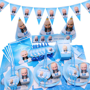 Cartoon Born Leader Boss Baby Birthday Disposable Tableware Wedding Decoration Tablecloth Plate Cup Baby Shower Decoration Kids(China)