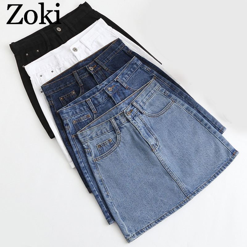 Zoki Sexy Women Denim Mini Skirt Fashion Summer High Waist Korean Black Skirt Blue Package Hip Jeans Harajuku Plus Size Cotton