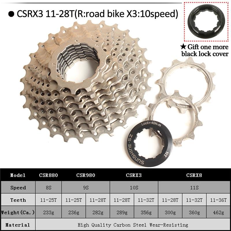 SUNSHINE 8//9//10//11S Road Bike Cassette 11-25//28//32//36 Sprocket Fit Shimano//SRAM