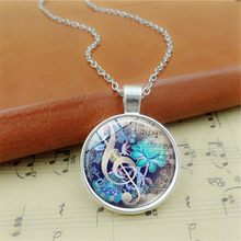 Color Fashion Piano Notes Guitar Music DIY Time Glass Gem Pendant Necklace Handmade Jewelry Necklace Accessories(China)