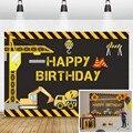 Laeacco день рождения фоны строительные зоны экскаватор грузовик журавль строитель мальчик новорожденные фотографии фоны для фотостудии