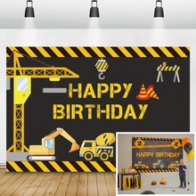 Laeacco Birthday Backgrounds Construction Zone Excavator Truck Crane Builder Boy Newborn Photography Backdrops For Photo Studio