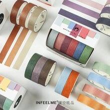 6pcs/pack Vintage Solid Color Paper Washi Tape Set Retro Adhesive Masking Tape DIY Scrapbooking Sticker Label Decorative Tapes
