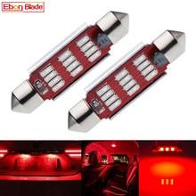 2 x vermelho festão led dome luz 31mm 36mm 39mm 41mm 42mm 12smd canbus interior do carro lâmpada da placa de licença estilo automático 12v ac
