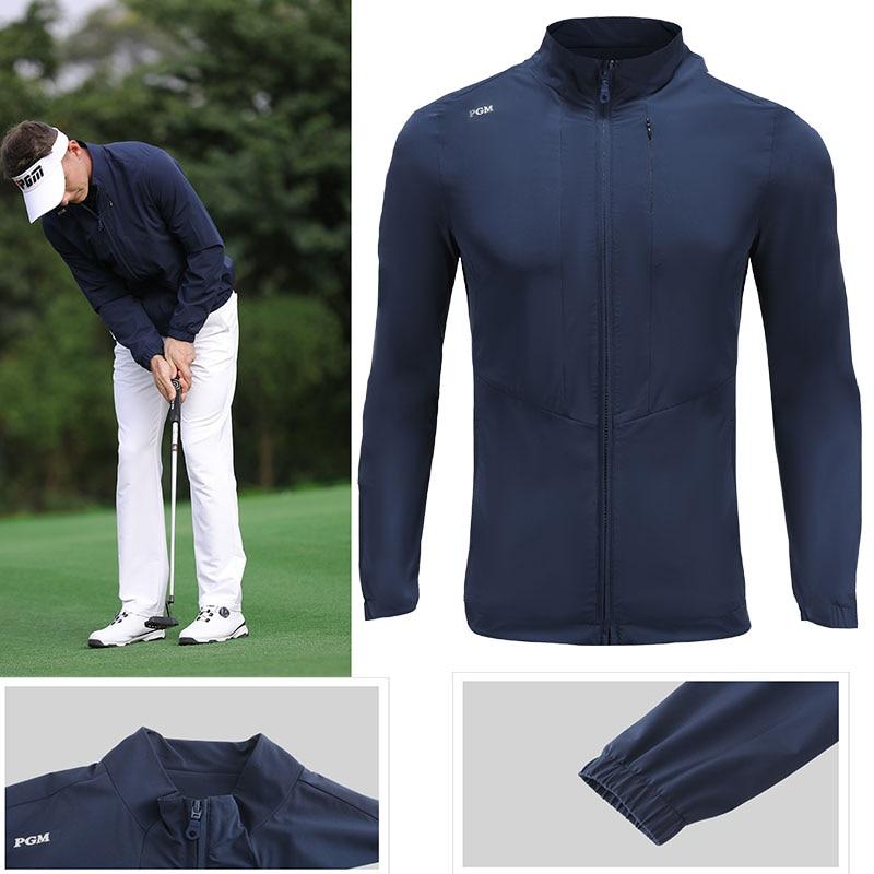 PGM Men Golf Clothes Waterproof Thin Coat Windbreaker Vest Autumn Zipper Long Sleeve Jacket Male SportsWear Keep Warm Apparel 1