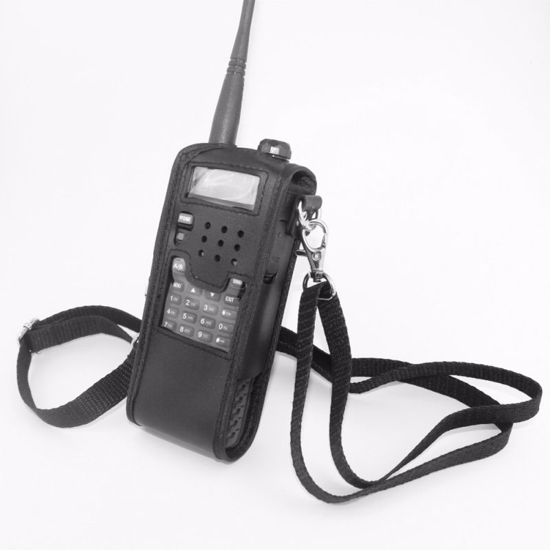 New Extended Leather Soft Walkie Talkie Case Bag For Baofeng UV-5R 3800mAh Portable Radio  UV 5R TYT Walkie-talkie Accessories5