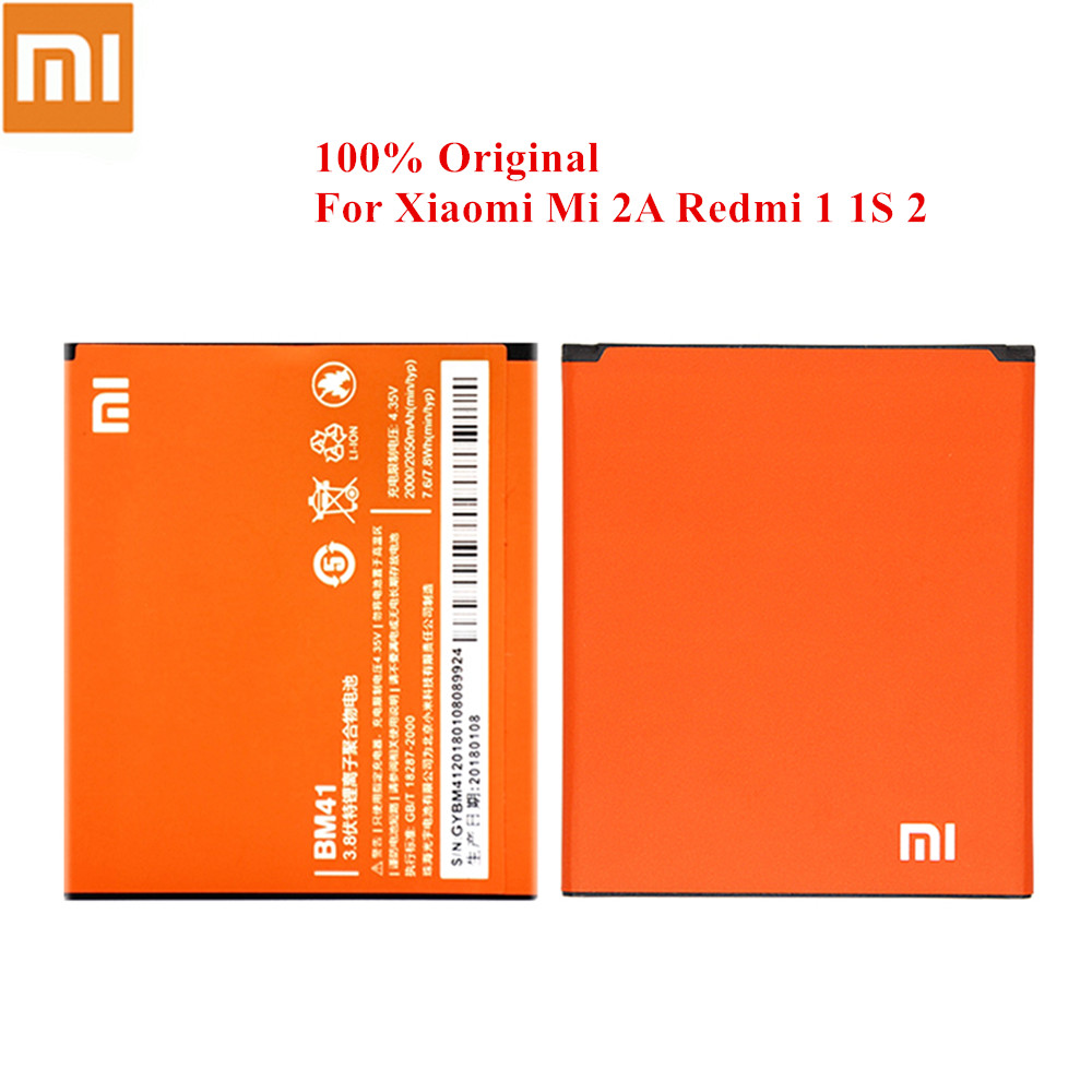 100% <font><b>Original</b></font> <font><b>Battery</b></font> BM41 For <font><b>Xiaomi</b></font> Mi 2A <font><b>Redmi</b></font> 1 <font><b>1S</b></font> Hongmi 2 2000/2050mAh Genuine Xiao Mi Batteria Fast Shipment image