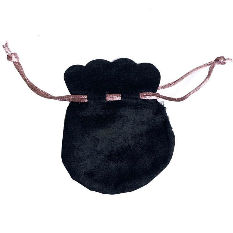 1 Buah Putih Pink Ribbon Double Layer Flanel Tas Kantong untuk Manik Pesona Gelang Wanita Asli Perhiasan Hitam Kemasan Luar