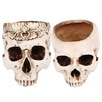 Besegad Halloween White Skull Head Flower Sculpture Pot Skull Bone Bowl Container Replica Ashtray Halloween Decoration Horror фото
