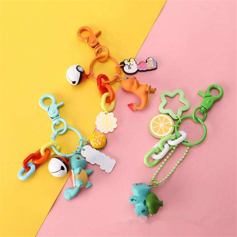 Cartoon Anime Game Pokemon Peripheral Keychain Pikachu Charmander Bulbasaur Squirtle Backpack Pendant Gift