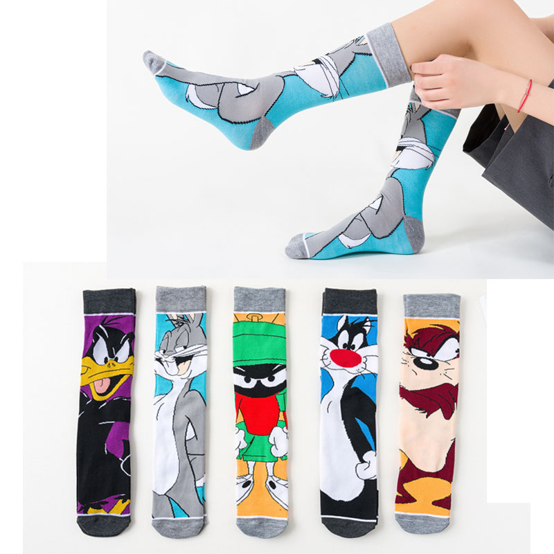 2020 Funny Cartoon Anime Print Socks Rabbit Duck Fashion Personalized Novelty Men Women Comfort Breathable Blue Gray Cotton Sock