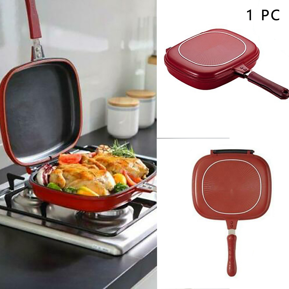 Square Double Double Side Grill Fry Pan Non-stick Frying Pan For Kitchen Breakfast Pancake Steak Pot Cooking Tool